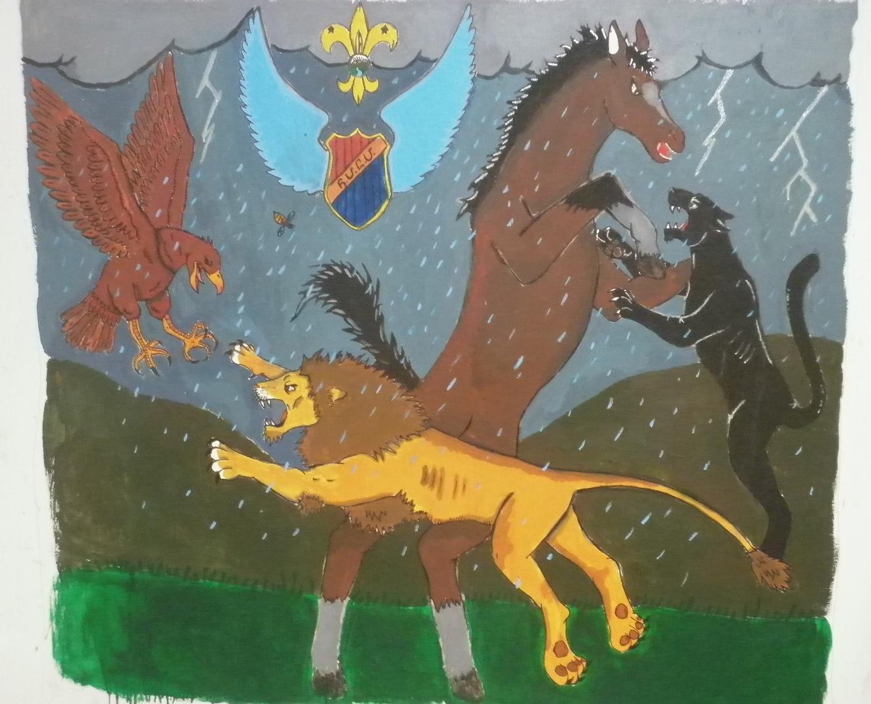 El mural de la Tropa con los animales caracteristicos de las patrullas